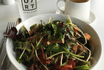 Vegan lunch with coffee at DIRT, South Beach