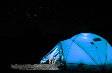 Blue tent at night